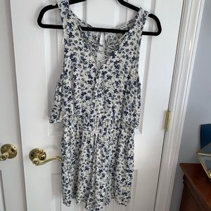 American Eagle Blue Floral Open Back Romper